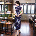 Chinese Traditional Cheongsam Dress Women Silk Cap Sleeve Dress Retro Mandarin Collar Cheongsam Dress Long Flowers Print Qipao