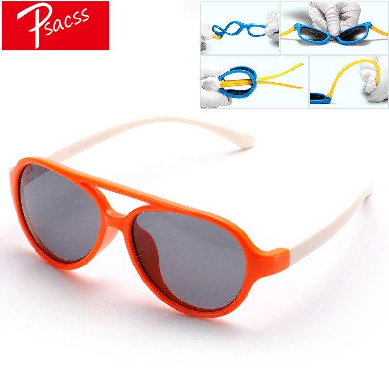 Psacss NEW Classic Pilot Polarized Kids Sunglasses Boys Girls Childrens Vintage Silicone Frame Sun Glasses UV400 Gafas Infantil
