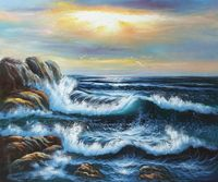 Frameless Living Room Wall Decoration Canvas Art Painting Seascape Oil Painting Seagull's Landing Hand Painted High Quality
