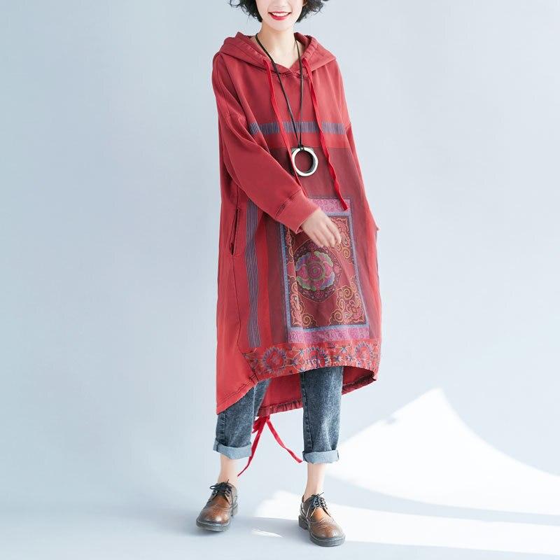 Femmes Oversize Robe à capuche lâche rétro décontracté imprimé Robe de grande taille coton Robe irrégulière tricoté Pullovers Baggy G101204
