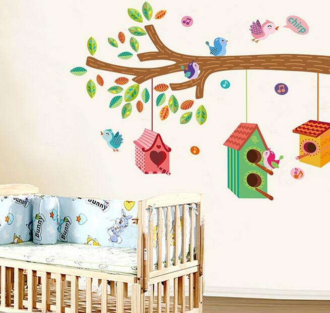 1pc baby room wall stickers birds and tree wall decor vinyl art