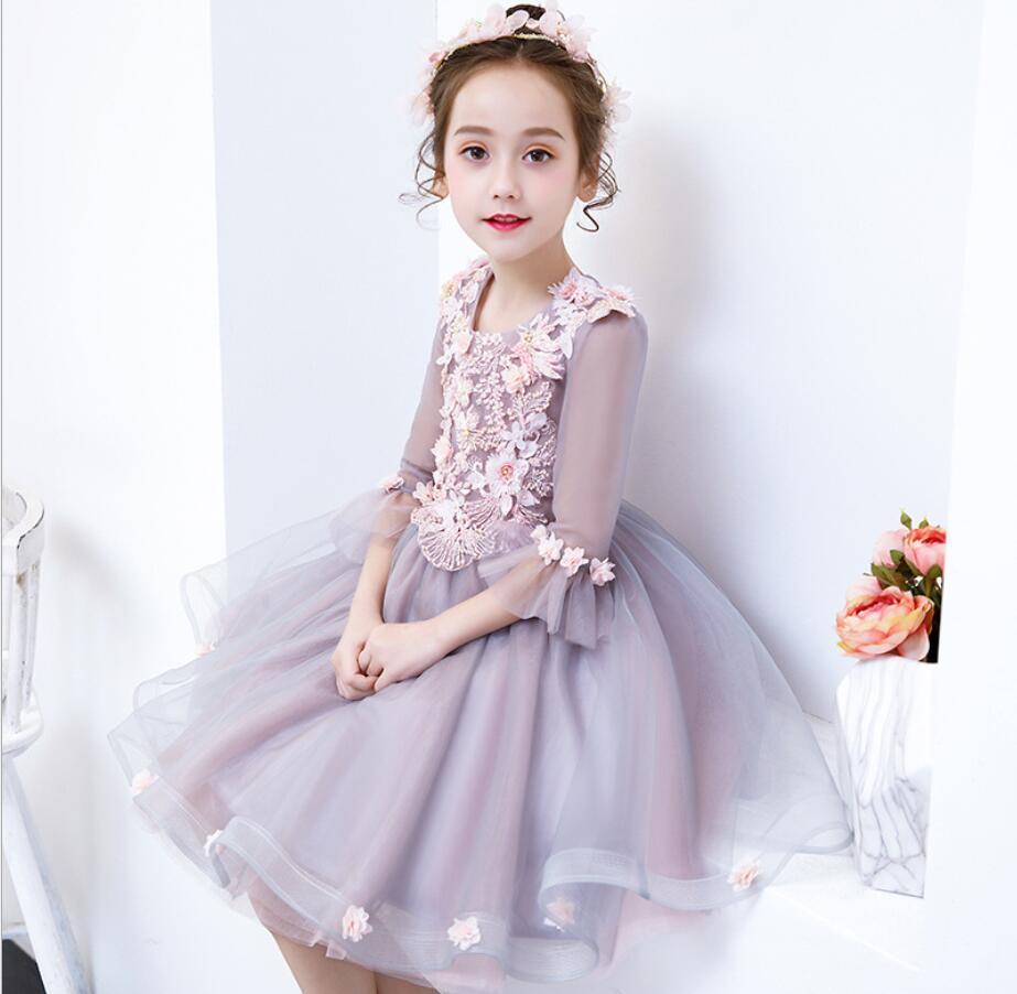 Robes de bal princesse grise robes de Tutu de mariage pour filles robes de fête de fleur fille demi manches de bal 2-13 ans HW2318