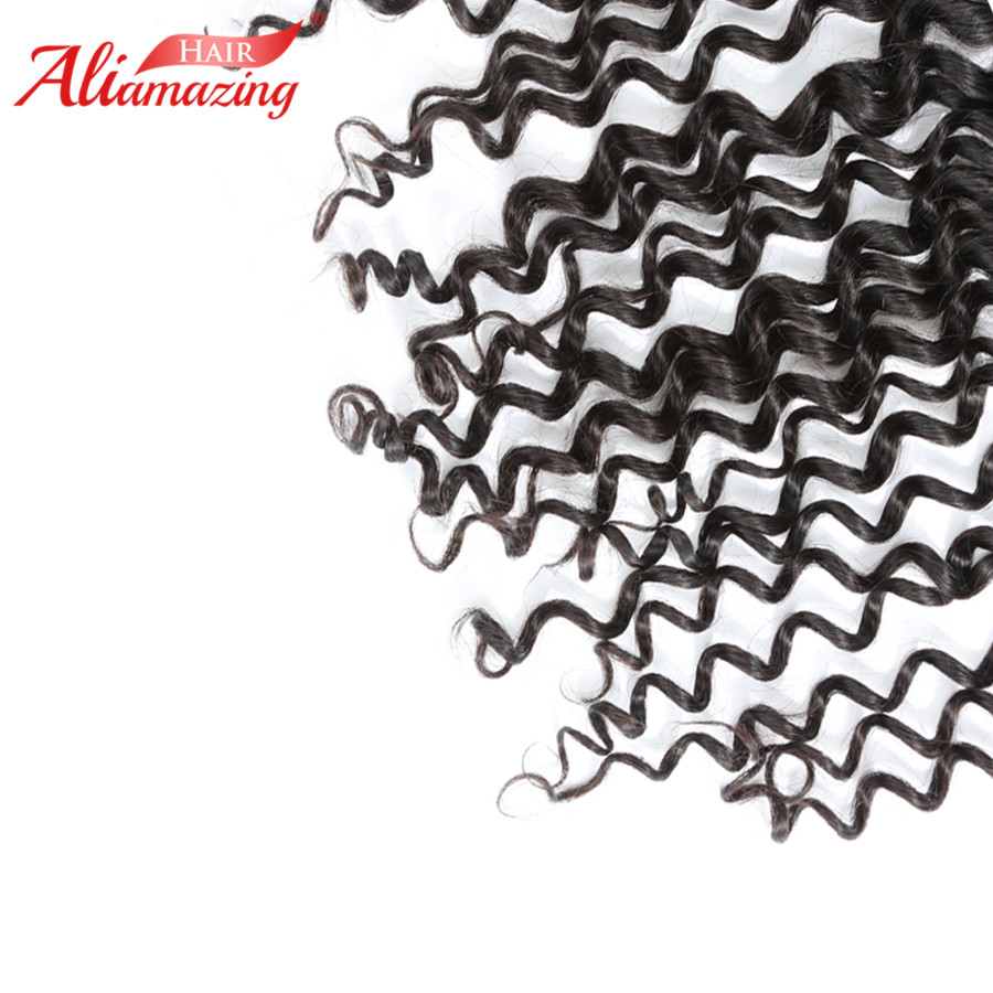 Ali Amazing Hair Brazilian Deep Wave Lace Frontal 10-20 13x4 Ear to Ear Free Part Frontal Closure Swiss Lace Remy Human Hair