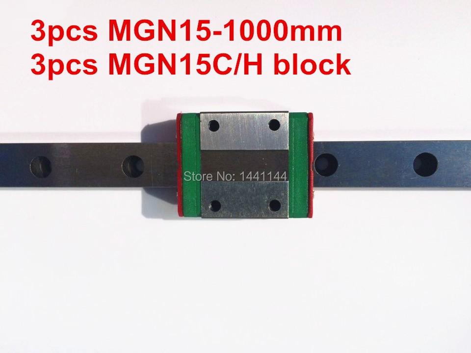 MGN15 Miniature linear rail:3pcs MGN15 - 1000mm rail+3pcs MGN15C/MGN15H carriage for X Y Z axies 3d printer parts mgn15 miniature linear rail 3pcs mgn15 900mm rail 3pcs mgn15c mgn15h carriage for x y z axies 3d printer parts