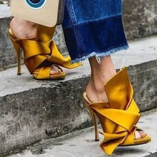 Yellow Satin Big Knot Women Gladiator Sandals Runway Sexy High Heel Slides Mules Silk High Quality Shoes Women Zapatos Mujer