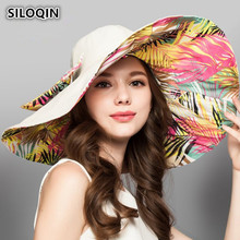 SILOQIN Summer Lady Super Big Brim Sun Hat Foldable UV Resistant Beach Hats For Women New Bow Tie Headdress Decorated Female