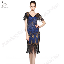 Great Gatsby Dress Women 1920 s Vintage Sequin Art Deco Double Flapper Dresses Vintage V Neck Party Dress Embellished Fringed stretchy bodycon dress womens v neck vintage fringe embellished sequin beaded flapper dress gatsby plus size knitted shift dress