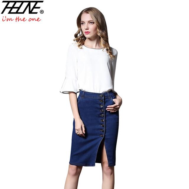 4056e3a7e513a THHONE Midi Skirts Women Slim Button Up Elastic Stretch Knee Length Split  Fashion Faldas Mujer Women s