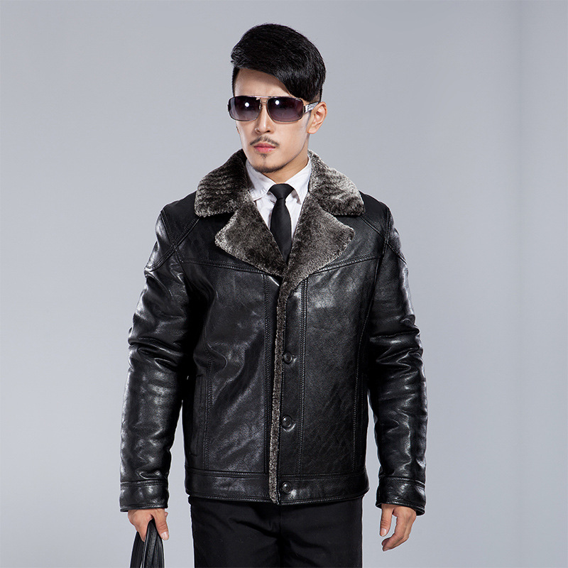 Winter fur collar artificial leather jacket Turn warm plus thick velvet men dark brown sheepskin coat pilot bomber jacket