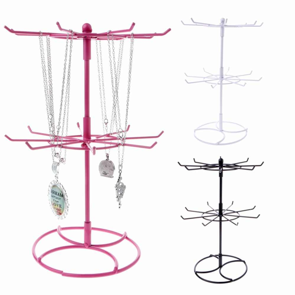 JAVRICK 1 PC Metal Necklace Bracelet Chain Rotation Hanging Jewelry Display Rack Stand Holder  Black/White/Pink