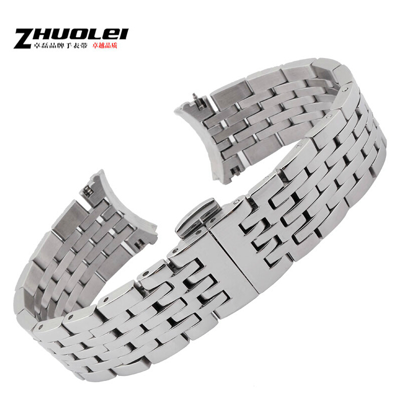 Watch Accessories Silver New Mens Solid Stainless Steel Replacement Watchbands 19mm For T41