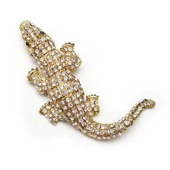 CINDY XIANG Rhinestone Big Crocodile Brooch for Women Statement Animal Pins and Brooches Zinc Alloy Size 9.0cm*5.8cm Gift