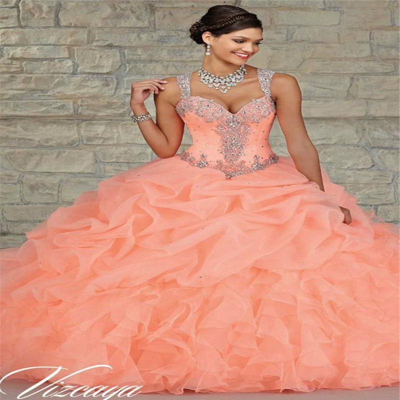 3ab717a859b6 Coral Quinceanera Dresses New Beaded Masquerade Ball Gown Sweet 16 Light  Pink Organza Sparkly Sleeveless Plus Size Royal Blue