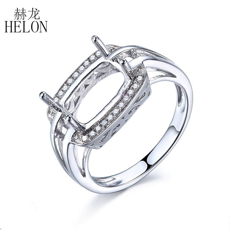 HELON 7x10mm Cushion Cut 925 Sterling Silver Natural Diamonds Women Wedding Engagement Semi Mount Ring Setting unique JewelryHELON 7x10mm Cushion Cut 925 Sterling Silver Natural Diamonds Women Wedding Engagement Semi Mount Ring Setting unique Jewelry