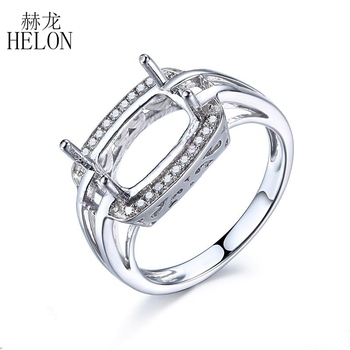 HELON 7x10mm Cushion Cut 925 Sterling Silver Natural Diamonds Women Wedding Engagement Semi Mount Ring Setting unique Jewelry