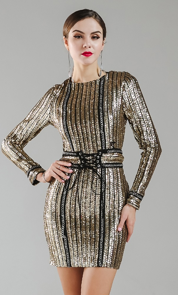 Black silver sequin dress long sleeve