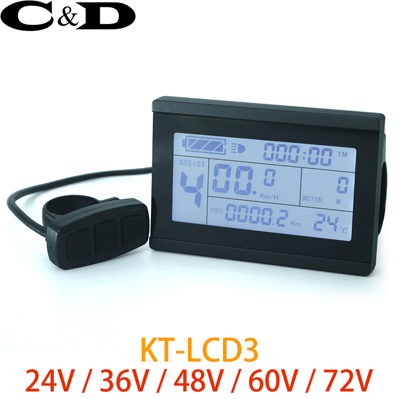 Ebike 24v 36v 48v Intelligent Black Kt Electric Vehicle Parts Lcd3 Ktlcd3 Control Panel Lcd Display Electric Bicycle Bike Parts For Kt Controller