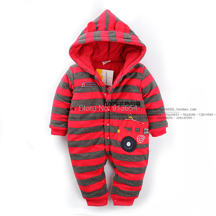 new 2016 autumn winter Romper baby clothing infant thick cotton rompers baby boys / girls striped jumpsuits newborn baby costume 0 12m autumn cotton baby rompers cute cartoon clothing set for baby boys infant girls clothes jumpsuits foot coveralls romper