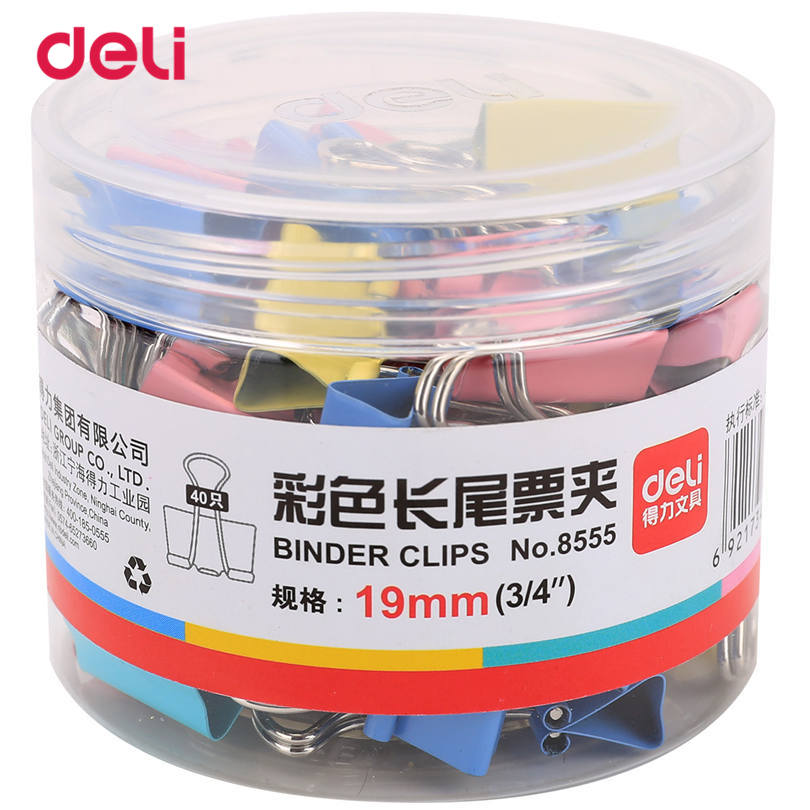 40Pcs/Set Deli Paper Clip Metal Office Binder Clips 19mm 8555 Paper Clips School Office Supplies 4 Colors Normal Metal Clips цена и фото