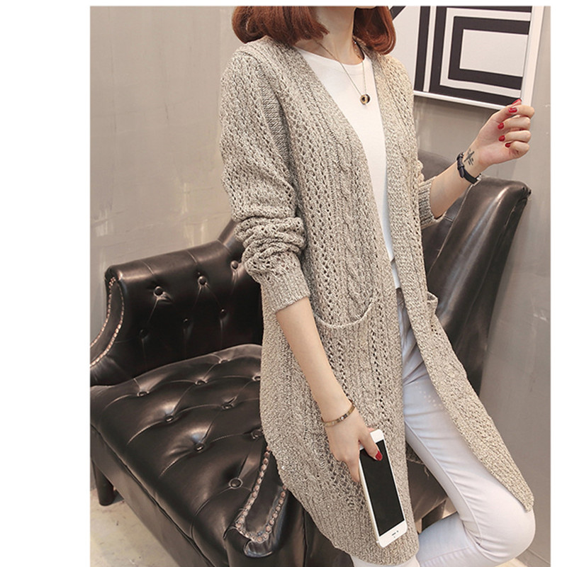 Coat Out Kintted brown Arrival Female Autumn Outer New Neck Loose V Long 2018 Cardigan Wear Solid Woman Sleeve Hollow Grey qPSvHn6n5w