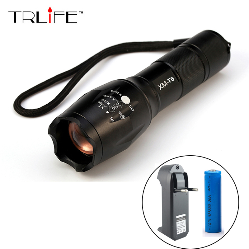 LED CREE XML T6 Flashlight 6000Lumens Torch 5modes Tactical Flashlight Zoomable Flash Light +18650 Battery + Charger hot sale 3x cree xml t6 led headlamp bike light 5000 lumen 18650 led head light 4x18650 battery pack charger bike rear light