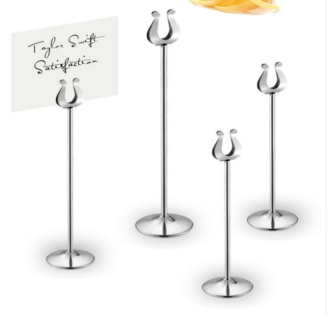 Table Number Holder Gold Silver Wedding Table Card Holders U Shape Table  Decoration Stainless 10