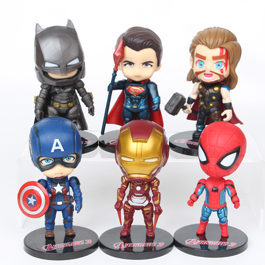 6 pieces/set The avengers Action Figures model  toy 10cm Super hero gift for children Cute Car ornaments