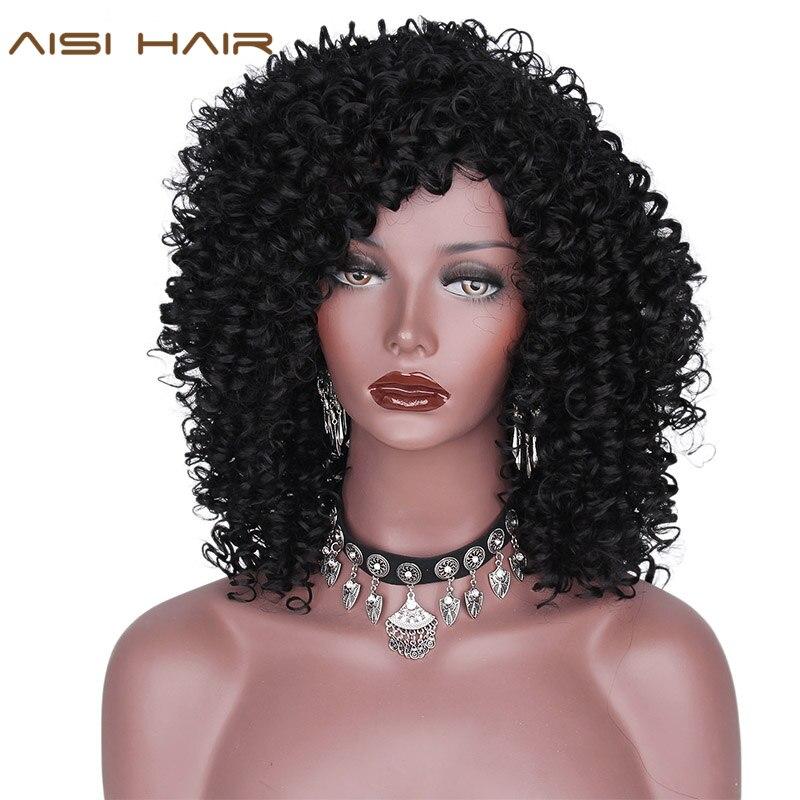 AISI HAIR Syntetiska Afro Kinky Curly Parykar för svarta kvinnor - Syntetiskt hår