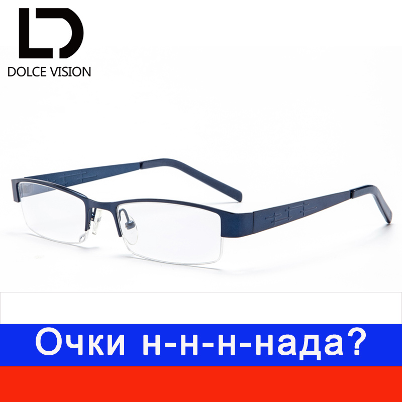 DOLCE VISION Carving Half Frame Glasses Men Mypia Business Man Eyeglasses Clear Lens Glasses Astigmatism Spectacles New