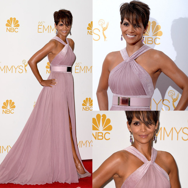2016 free shipping Emmy Awards Halle Berry Dresses Halter Pleat Side ...
