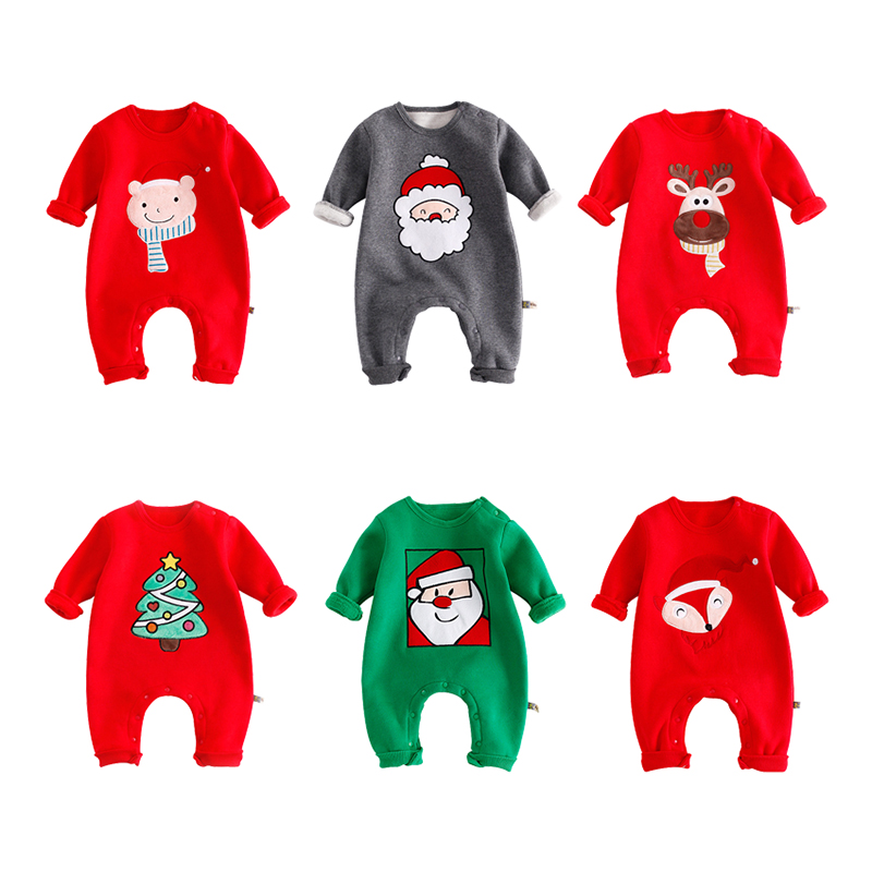 Baby Rompers Winter Thick Warm Clothes Newborn Boys Girls Clothes Long Sleeve Jumpsuits Christmas Deer Costume Outwear baby girl rompers 100% cotton overalls autumn winter kids long sleeve jumpsuits newborn infantil boys clothes baby costume bebes