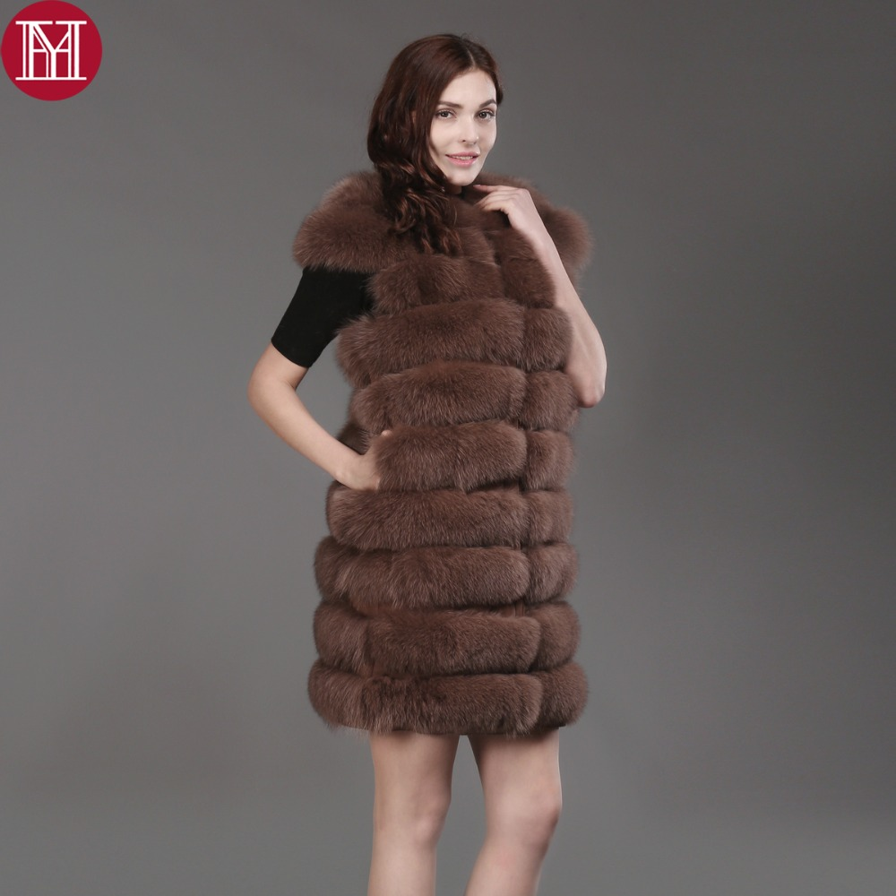 2017 hot sale natural real fox fur sleeveless coat women winter quality genuine real fox fur