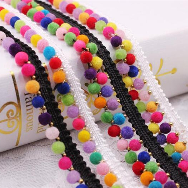 Sewing Accessories Pompom Trim Pom Decoration Tassel Ball Fringe Ribbon DIY  Material Apparel 7bc63c44bfad