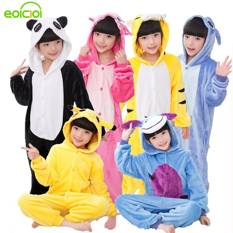 EOICIOI Kids Pajamas For Boys Girls Sleepwear Onesies Flannel Animal Stitch Unicorn Pegasus Cosplay Hooded Children Pajamas Set