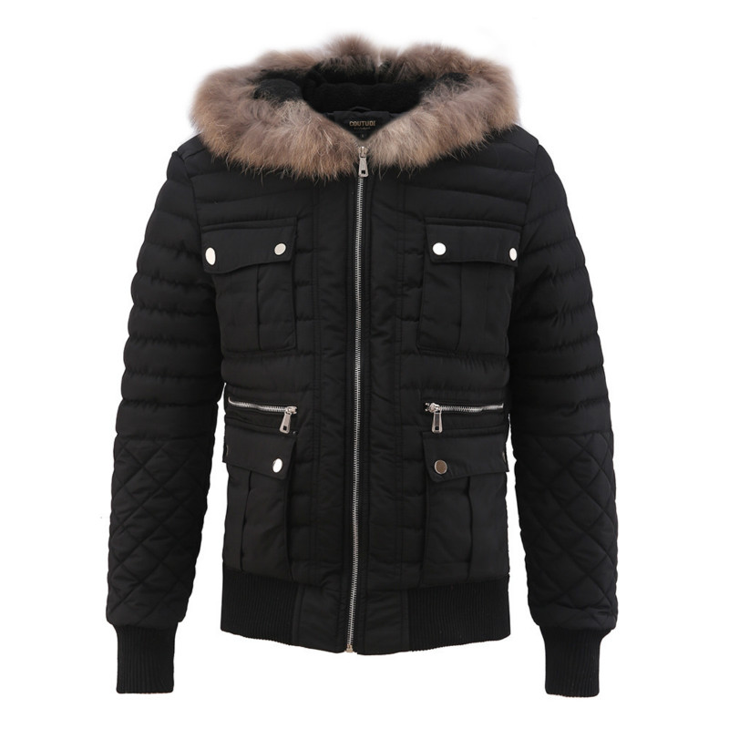 YuWaiJiaRen Fur Hooded Solid Winter Jacket for Man Zipper Coats Cotton Padded Thick Warm High Quality Mens Down Jackets casual 2016 winter jacket for boys warm jackets coats outerwears thick hooded down cotton jackets for children boy winter parkas