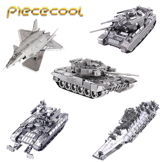 Free Shipping Piececool Military Tanks Fighter 3D Laser Cutting Metal Model  Puzzle Toys Kids DIY Assembled