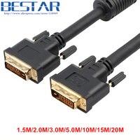 1.5 M 2 M 3 M 5 M 10 M 15 M 20 M DVI24 + 1 DVI 24 + 1 Pin Altın erkek VIDEO kablosu bilgisayar Monitörü projektör Için vidalar ile Siyah