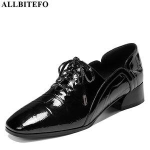 Image 2 - ALLBITEFO naturel en cuir véritable loisirs chaussures à talons hauts mode dames femmes talons décontracté printemps automne fille talons hauts