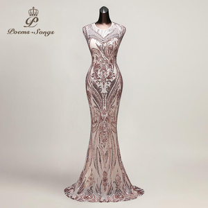 Image 3 - Poems Songs New Hot sale Mermaid Evening Dress prom gowns Party dress vestido de festa Sexy Backless Luxury Sequin robe longue