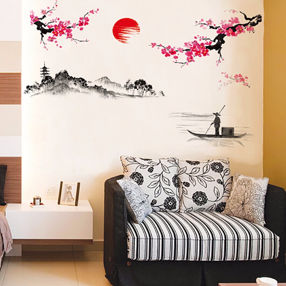 China Style Plum Flowerlandscape Painting Living Room Wall Stickers Removable Diy Home Decor