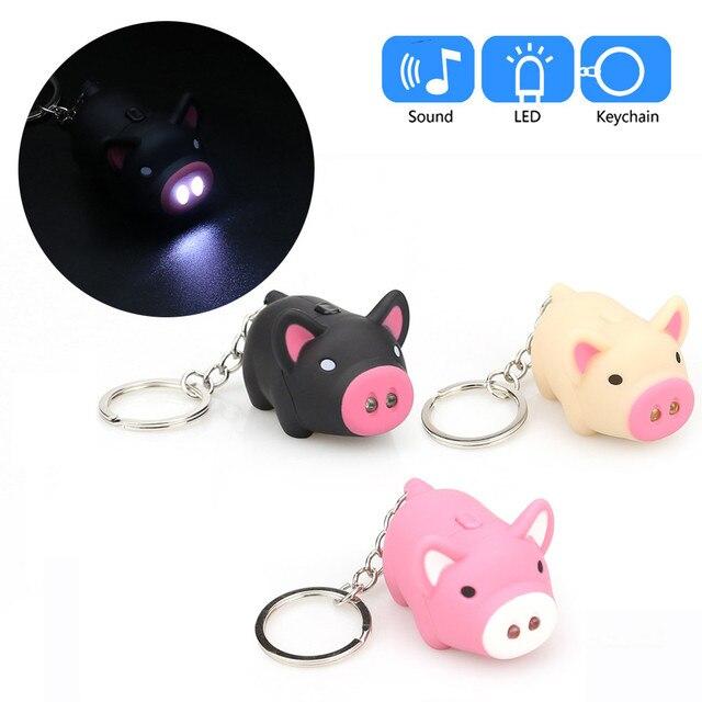 LEVOU luz usb charg 0.3 W 25Lum Porco Bonito Dos Desenhos Animados Chaveiro Com Luz LED E Som Keyfob Presente Toy Kids