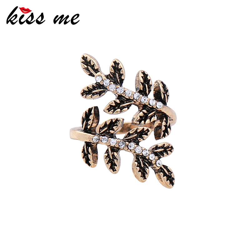 KISS ME Antique Gold Color Crystal Leaves Vintage Finger Ring 2017 Brand Rings for Women Fashion Jewelry