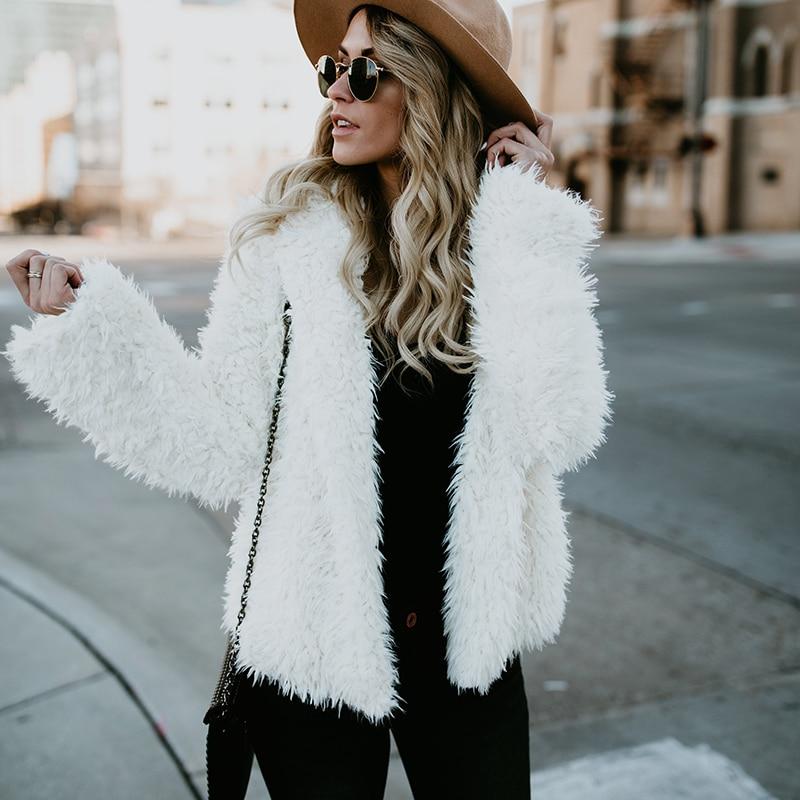 Fleece soft warm jacket coat sweater whit hooded Women open stitch jacket Winter spring fashion faux fur outwear White coats