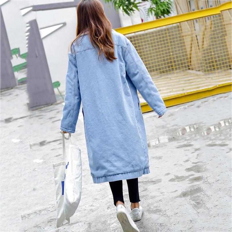 Chaqueta de mezclilla de estilo largo de las mujeres abrigo de tela de mezclilla gruesa de estilo largo cortavientos forro de felpa gruesa Parkas cálidas de mujer - 4