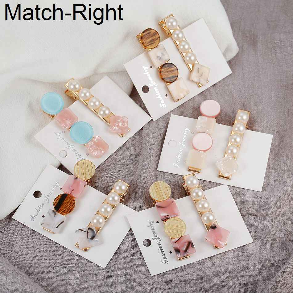 Match-Right Pearl Hair Clip Pins Styling Ornaments Crab Bobby Hairpin bridal headpiece Barrette Tiara Trombone NR189