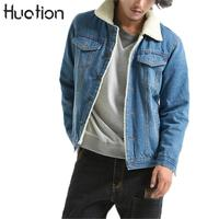 Huation Jacket Jeans Men 2017 Winter Thicken Warm Lamb Wool Fleece Lining Denim Jacket Men Coats
