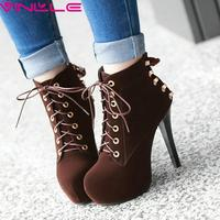 Lace Up Western Style Women Shoes Platform Shoes Women Square High Heel Ankle Boots Flock Ladies