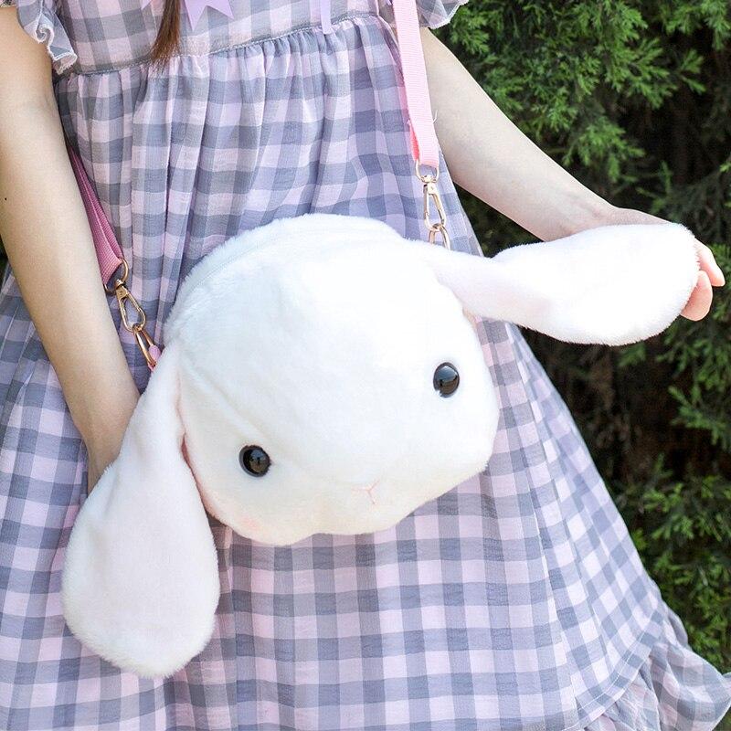 2 Sizes Cartoon White Rabbit Plush Bag Japanese Big Ear Bunny Crossbody Bag White Rabbit Mini-messenger Bag Rabbit Stuffed Plush