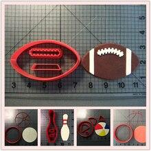 Спортивная серия Печенье Cutter Set Футбол Баскетбол Пляжный мяч Боулинг Pin Fondant Cupcake Top Изготовленный на заказ 3D печатный пресс для торта