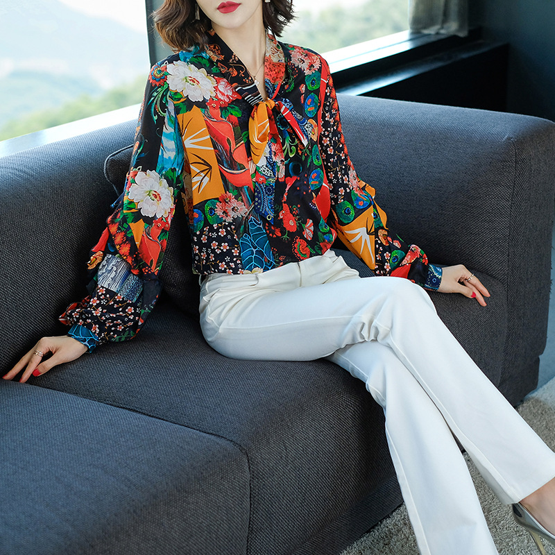 Mixed Haute Nouveau Chemise Femmes C14 Luxe De À Qualité Blouses Manches Design Hérissé Longues Collier Printemps Chemises 2019 Soie 100 Réel Arc Imprimé 1BU77wd0Aq